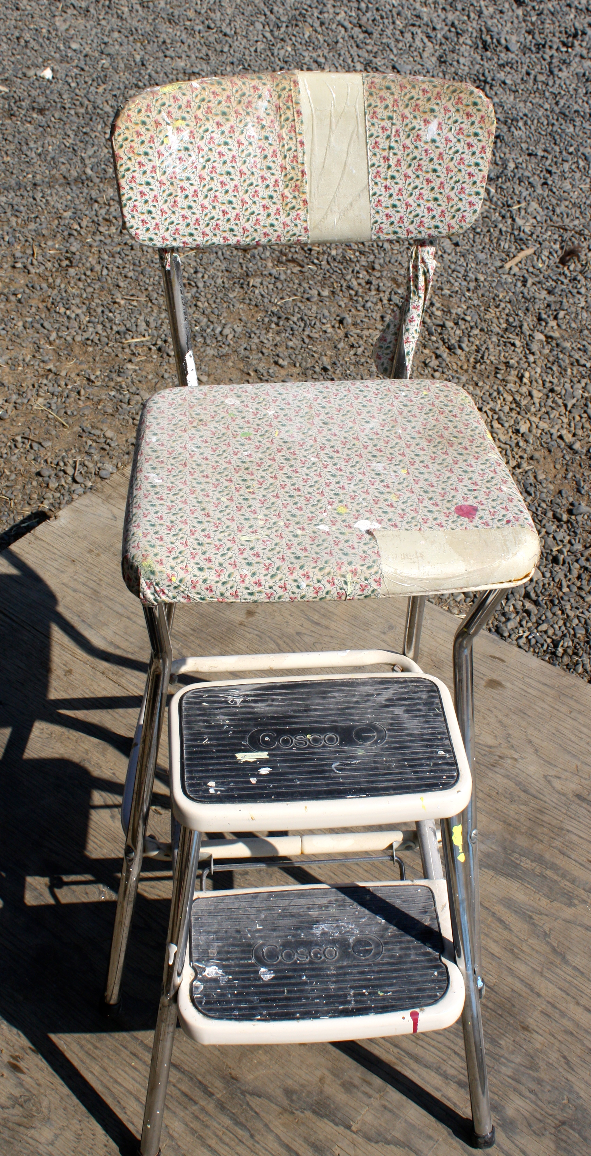 Reupholstered vintage step stool chair for bea set the net for Reupholstered furniture for sale