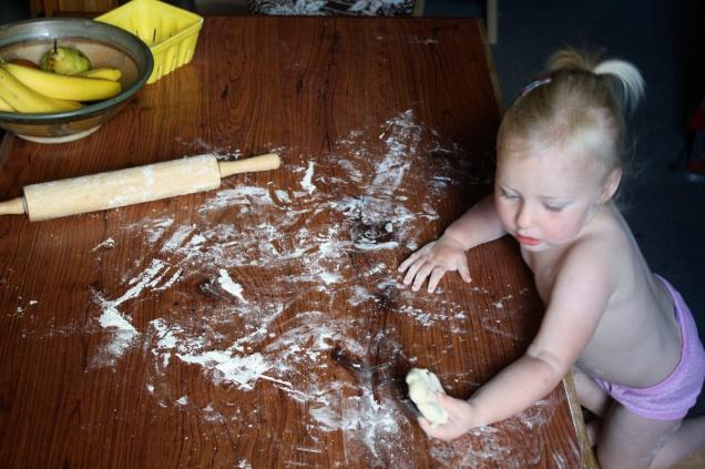 Bea rolling dough