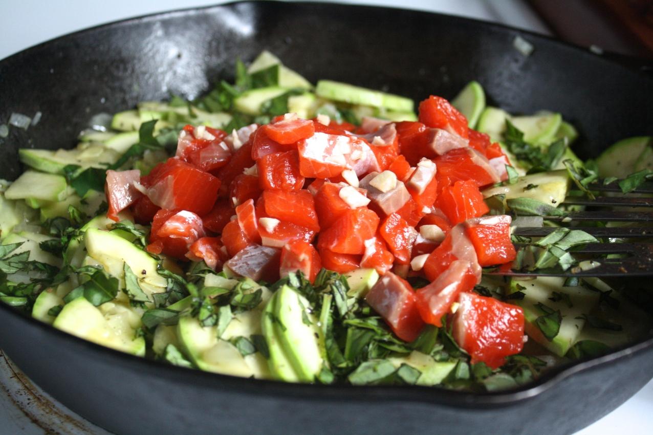 Zucchini Salmon Tart