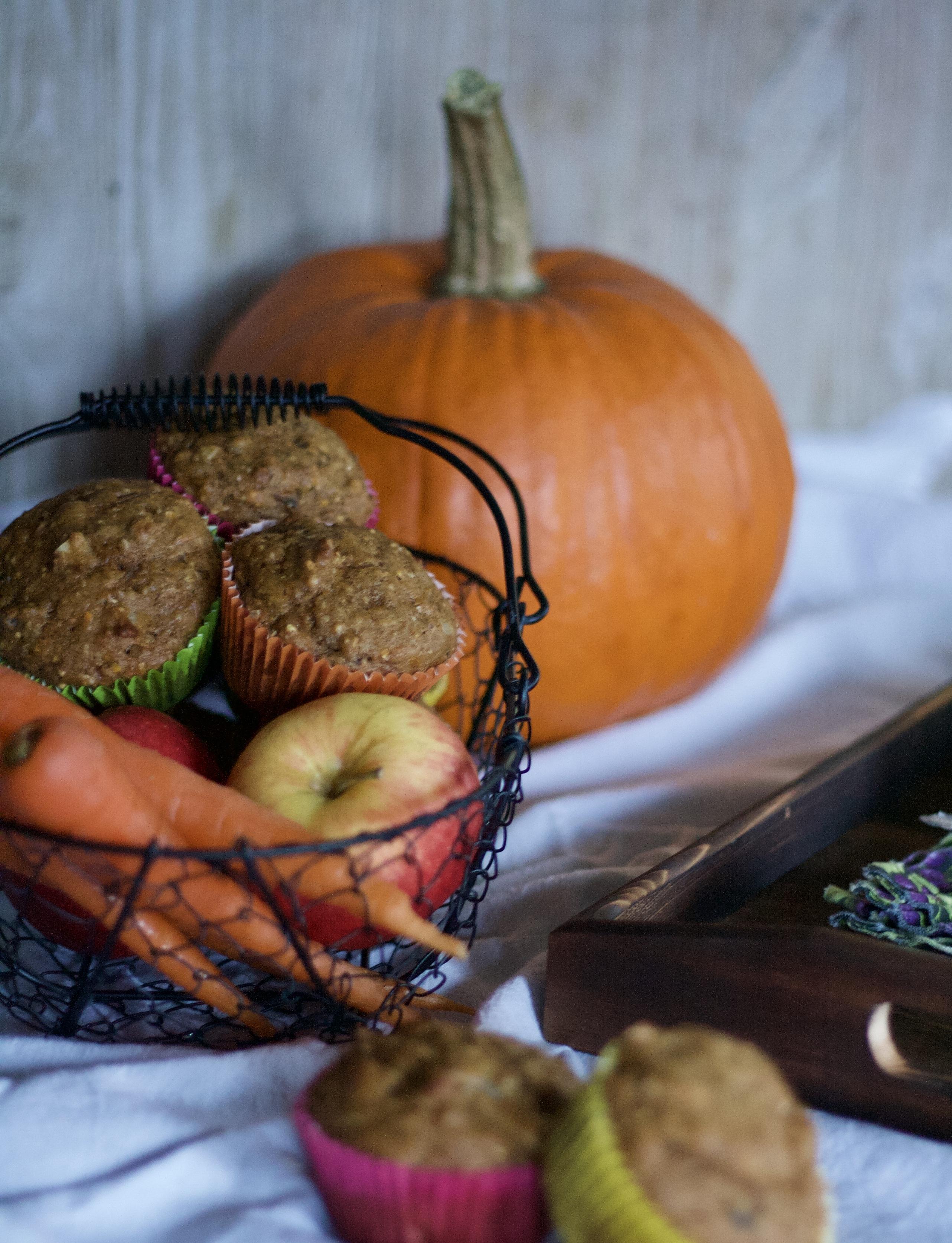 Pumpkin, Apple, Carrot Muffins