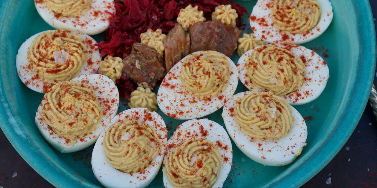 Deckhand's Daughter Smoked Herring Deviled Eggs
